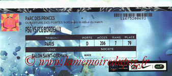 Ticket  PSG-Bordeaux  2014-15