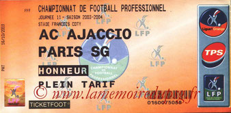 Ticket  Ajaccio-PSG  2003-04
