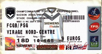 Ticket  Bordeaux-PSG  2003-04