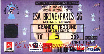 Ticket  Brive-PSG  2003-04