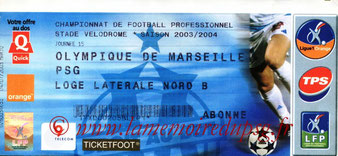 Ticket  Marseille-PSG  2003-04