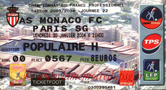 Ticket  Monaco-PSG  2003-04