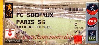 Ticket  Sochaux-PSG  2003-04