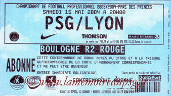 Ticket  PSG-Lyon  2003-04