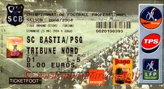 Ticket  Bastia-PSG  2003-04