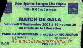 Ticket  PSG-Mouscron  2003-04