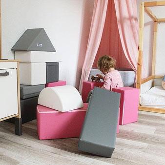 Softbausteine für eine Prinzessin in rosa grau und weiß
