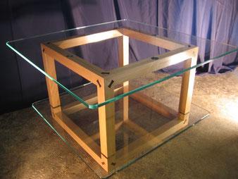 Meuble bois, table basse chêne et wengé.CCL ébéniste