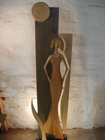 """Sculpture """"Claire de Lune"""", pigments naturels et cire.Bois de hêtre.CCL ébéniste"""