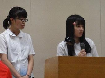 発表者の松崎薫さん(左)と髙倉優花さん(右)