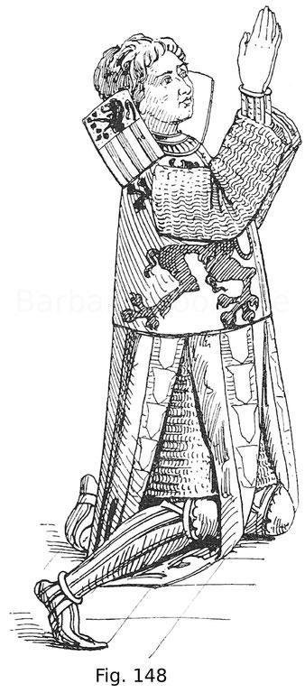 Fig. 148. Donator im blasonierten Gambeson, mit Achselschilden. Manuskript der Bibliothek zu Cambray. Flandrisch. 14. Jahrhundert. Nach Louandre, Les arts somptuaires, I.