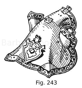 Fig. 243. Halbe Rossstirn, sogenannte Klepperstirn, von einer Harnischgarnitur König Ferdinands I. mit geätzten und vergoldeten Rändern. Auf dem Stirnschildchen findet sich der österreichische Bindenschild und die Jahreszahl 1549. Deutsche, vermutlich Aug