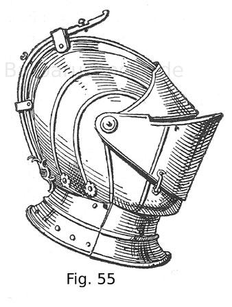 Fig. 55. Vorrichtung für die Befestigung eines Helmschmuckes an einem geschlossenen Helm. Italienisch. 16. Jahrhundert, zweite Hälfte. Sammlung C. Bazzero in Mailand.