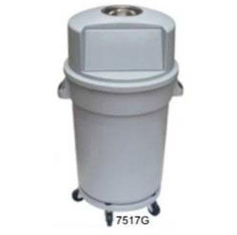 7517G. Bote Cilíndrico con Tapa  y Cenicero Gris. Medidas: 63 X 50 X 96 cm. Capacidad:  120 litros