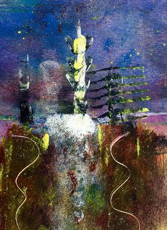 Attesa e lontananza, 2018, tecnica mista, 10 x 13 cm