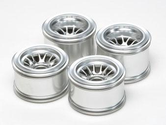 silberne Formel 1 Speichenfelgen für Modellautos im Maßstab 1:10