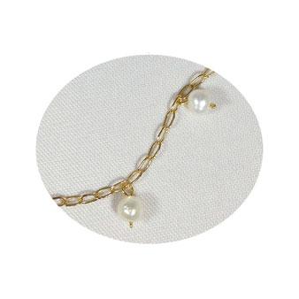 Délicate chaîne maille cheval en gold filled, perles de culture
