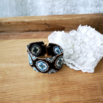 Manchette baroque noire et bleue
