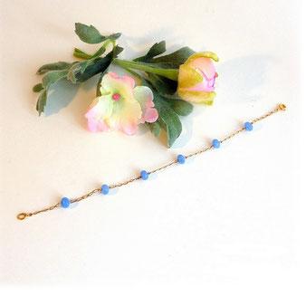 Bracelet jaspe bleu sur plaqué or