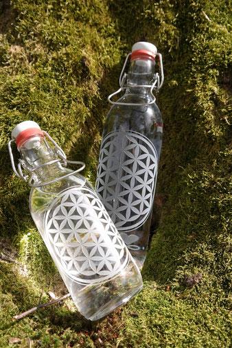 heilige Geometrie , blume des lebens , freiglas , trinkflasche