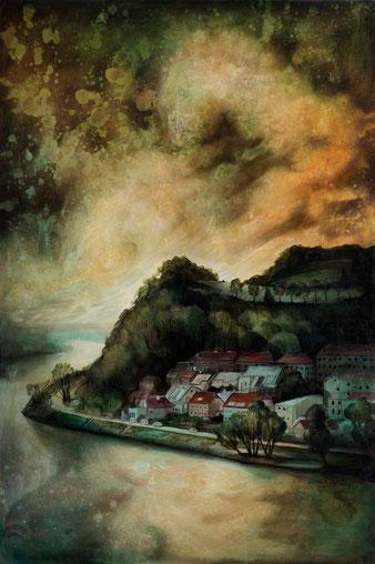 "Lukas Johannes Aigner, ""Alturfahr-West"", Acryl auf MDF, 140x100cm, 2014"