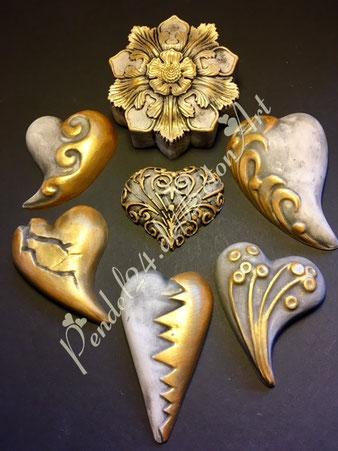 Handarbeit Dekoherz, Gießkeramik, Handarbeit Dekospirale,  Deko Reliefblume, Deko patiniert mit Gold