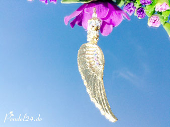 Anhänger Engelsflügel mit Blattgold belegt, Bleikristallperle klar, Pendel24.de