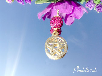 Pentagramm von Hand mit Blattgold belegt, StrassTonperle pink, Pendel24.de