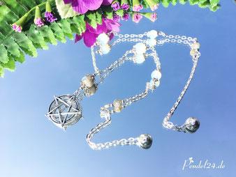 Halskette Pentagram versilbert, Labradorit-Perlen, Opal-Perlen, Amulett, Schutzamulett, Pendel, Pendel24,