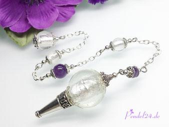 Pendel24.de, Pendel, Luxuspendel, Pendel kaufen, Tibetsilber, Metall-Pendel, silberfarbene Spitze, Handarbeit, Unikat, Metall-Perle, Kristallperlen,
