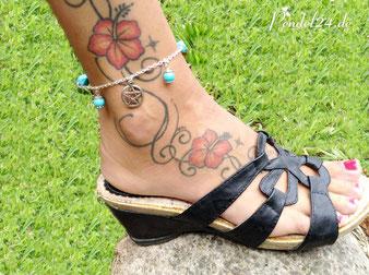 Fußkette mit Pentagram und Türkis