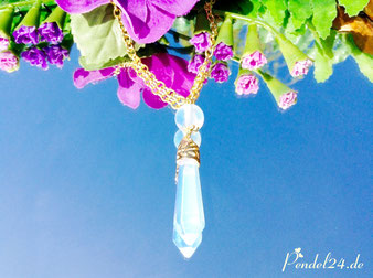 Halskette Opalkegel facettiert, Opalperle, Amulett, Schutzamulett, Pendel, Pendel24,
