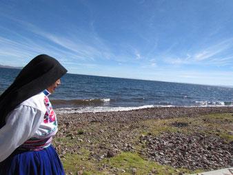 Amantani, pobladora de isla, puno, peru, isla titicaca, titikaka, taquile