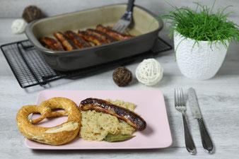 Bratwurst oder Bratwürste in der Stoneware Ofenhexe, Ofenzauberer James, Bäker oder Ofenmeister und Zaubermeister im Pampered Chef Onlineshop bestellen
