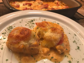 Hähnchenbrust überbacken mit Tomate und Mozzarella in der Ofenhexe aus dem Pampered Chef Onlineshop bestellen