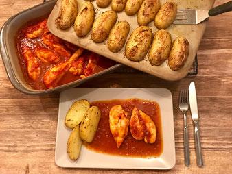 Hähnchenbrustfilet in Currysauce aus dem Grundset Zauberstein und Ofenhexe online im Onlineshop bestellen