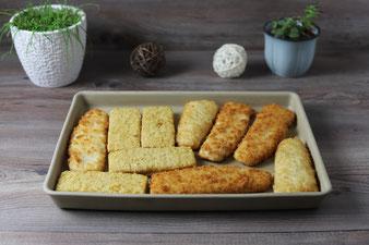 Backfisch, gebackener Fisch, Fischfilet paniert auf dem Ofenzauberer oder der Ofenhexe von Pampered Chef