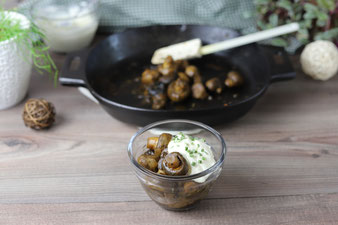 Champignons mit Knoblauchsoße wie vom Markt in der gusseisernen Pfanne von Pampered Chef aus dem Onlineshop