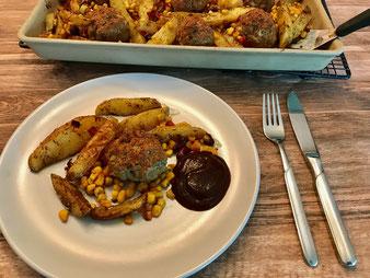 Texas Pfanne Kartoffel Wedges und Hackbällchen mit Gemüse im Ofenzauberer aus dem Pampered Chef Onlineshop bestellen