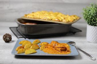 Texasröllchen mit Westernkartoffeln im Grundset, der Ofenhexe und Zauberstein von The Pampered Chef im Onlinehop bestellen
