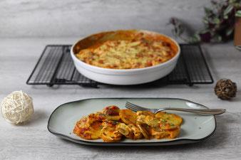 Kartoffel-Hähnchen-Gratin in der runden Ofenhexe von Pampered Chef®