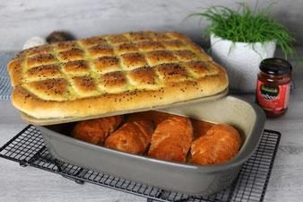 Hähnchenbrust Curryhähnchen mit Ofenkartoffeln im Grundset, der Ofenhexe und Zauberstein von The Pampered Chef im Onlinehop bestellen