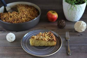 Apfelkuchen mit Walnusskruste in der Stoneware rund von Pampered Chef
