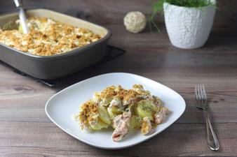 Auflauf mit Kartoffeln und Lachs in der Ofenhexe von Pampered Chef