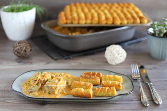Zwiebel-Champignon-Medaillons mit Kroketten im Grundset von Pampered Chef