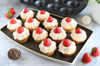 Erdbeer Cupcakes aus der Muffinform von Pampered Chef