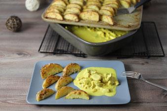 Putengeschnetzeltes Putencurry Currygeschnetzeltes aus der Ofenhexe mit Parmesan-Kartoffel-Wedges vom Zauberstein, Grundset im Pampered Chef Onlineshop