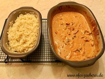 Geschnetzeltes Zürcher Art aus dem Ofenmeister oder Zaubermeister und Reis aus dem Backofen in der Lily im Pampered Chef Onlineshop bestellen