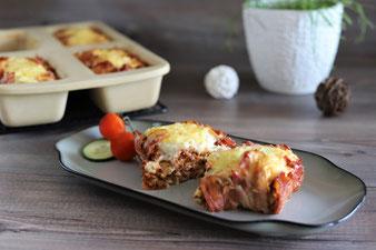 Lasagne mit Bacon in der Mini-Kastenform von Pampered Chef