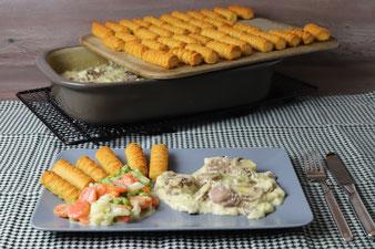 Champignon Rahm Medaillons mit Kroketten im Grundset mit Kuchengitter aus dem Pampered Chef Onlineshop